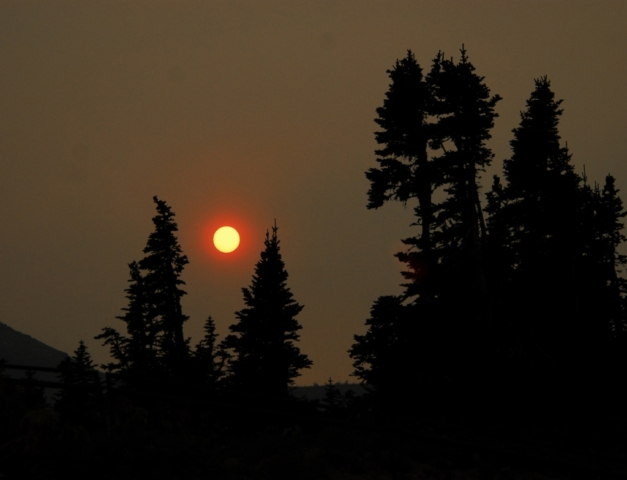 Sunset through smoke in Glacier Park