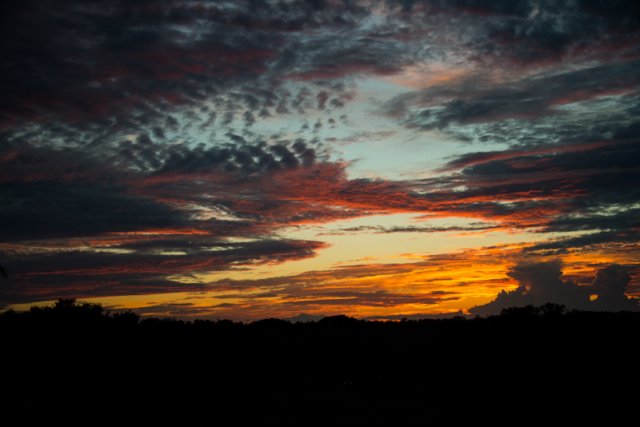 late sunset with cirrocumulus clouds in Brazoria County, Texas