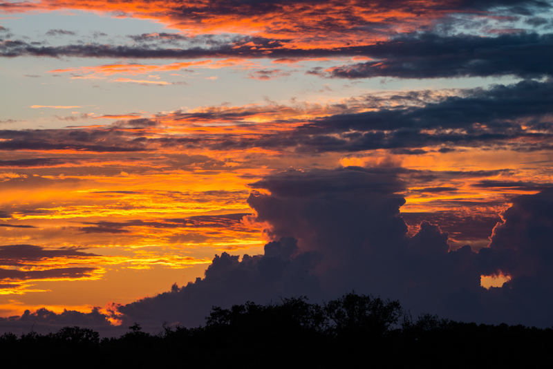Sunset with cumulonimbus clouds in Brazoria County Texas